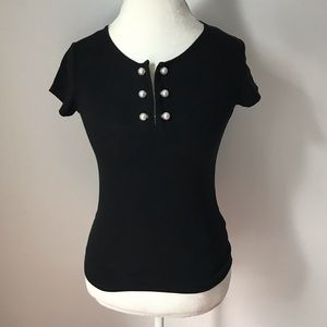 MOLLY BRACKEN top with pearl closure